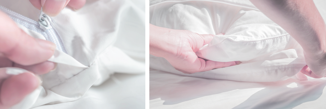 Duvet and pillow protector for hotels post covid-19 with antimicrobial properties