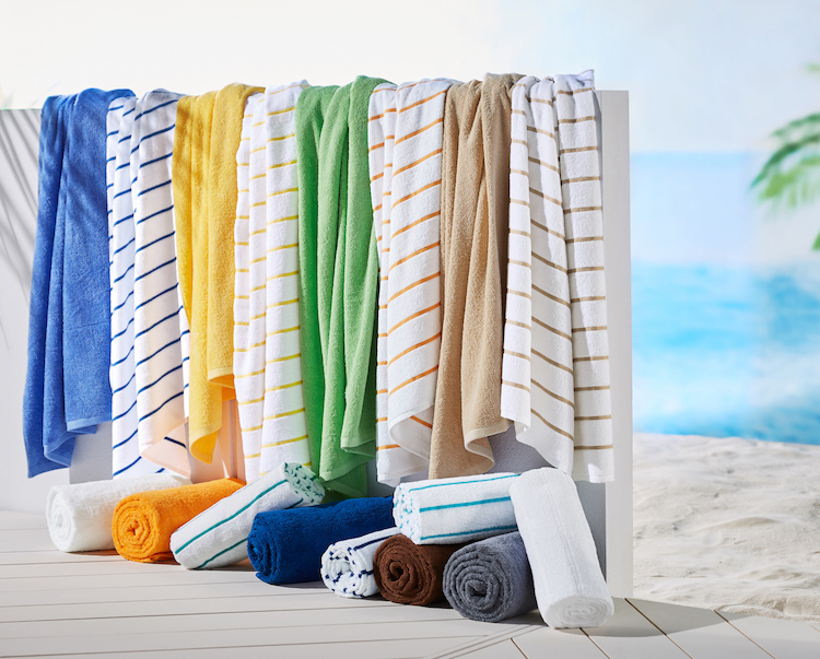 Hotel pool towels - a mix of solid color Traditional towels and Stripe Ritz pool towels in different weights and sizes - just in time for summer business